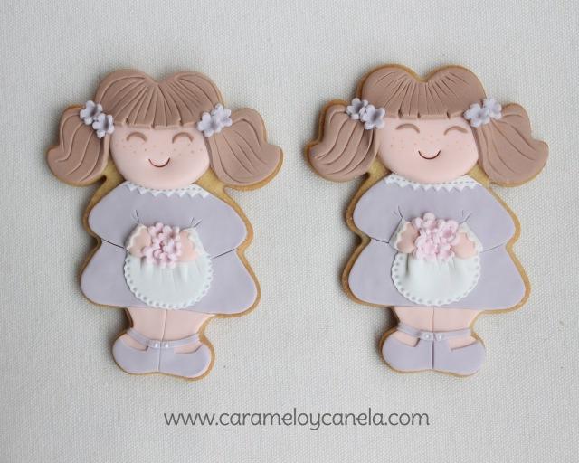 galletas, galleta niña, galleta fondant, galleta niña coletas, galletas cumpleaños