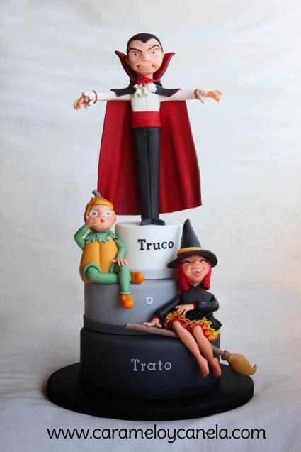 Tarta Halloween, modelado Halloween, fondant cake, sgarpaste Halloween, caramelo y canela